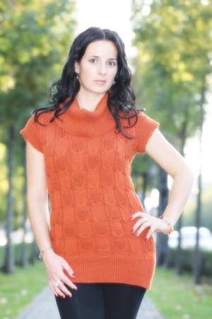 black hair: Beautiful Young Black Hair Girl Outdoor