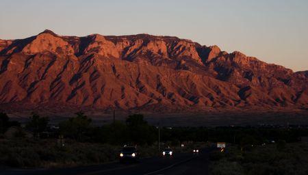 Albuquerques Sandias Mountains at Sunset