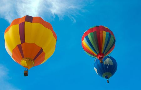 Up, Up and Away in a Hot Air Balloon Stock Photo