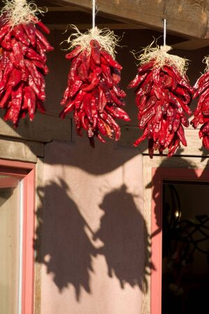 chile: Hanging Ristras in Old Town Albuquerque.