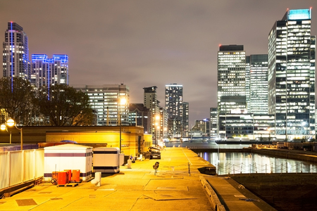 a beautiful night view of canary wharf financial district