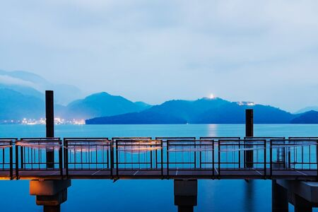 long lake: beautiful night view of sun moon lake