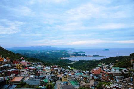 jiufen: An evening view of jiufen Taiwan Stock Photo