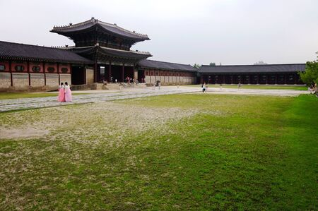 chang: A photograph of Chang Kyung palace in Seoul with people in the background Editorial