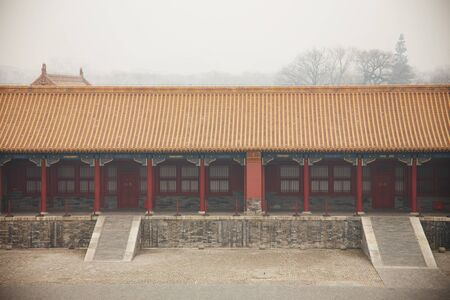 cold day: misty and cold day in beijing palace