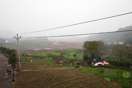 farming area: Urban farming area in the city of Chognqing