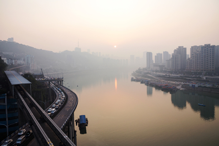 yangtze river: A view of Chongqing city and the yangtze river during sunset Stock Photo