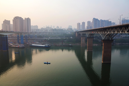 yangtze: Yangtze river during sunset in Chongqing China Stock Photo