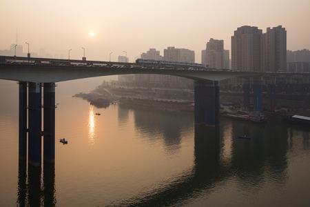 yangtze: Sunset over the Yangtze river in Chongqing China