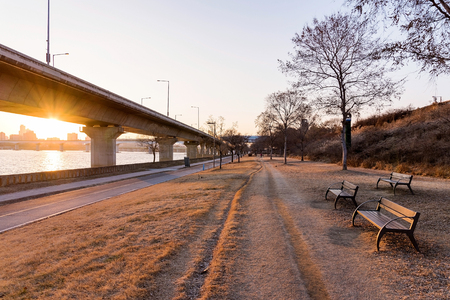 path to romance: romantic view of Hangang river park at sunset
