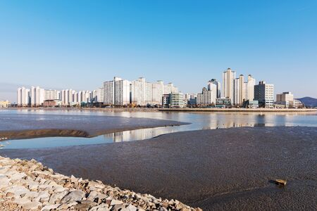 seafronts: generic apartment buildings along a Seafront Stock Photo