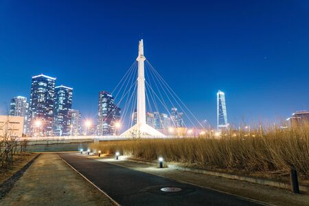 incheon: INCHEON, REPUBLIC OF KOREA - FEBURARY 10, 2016:  Songdo financial districts Central park at night time with buildings in the background and a walkway in the foreground.