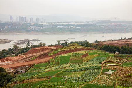 yangtze: rural farming area by the yangtze river in Chongqing China with buildings in the mist