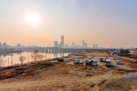 carpark: view of Han river during sunset with riverside car-park in Seoul