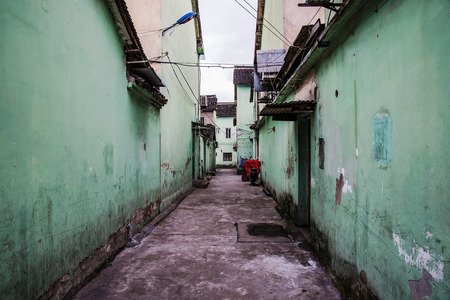 dismal: dismal side street in ancient Chinese town in Shanghai