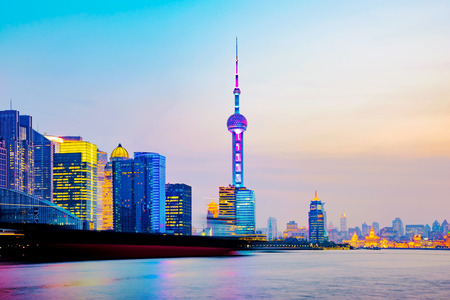 huangpu: View of Shanghai financial district at night time with Huangpu river Stock Photo