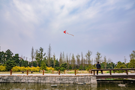 flying man: Chinese man flying a kite in a park in Shanghai on a cloudy day Stock Photo