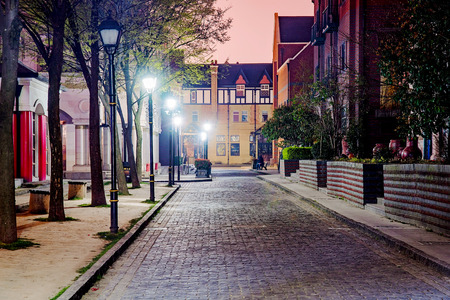 English style street at night in Thames Town Shanghai