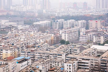 dismal: view of buildings in smog in downtown Nanjing Stock Photo