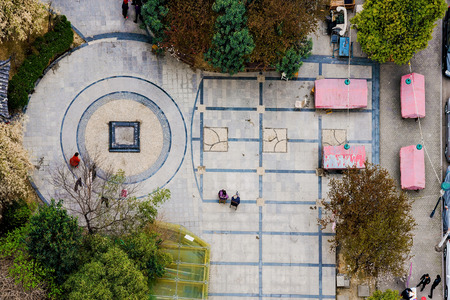 public space: chinese people sitting in a public space in Nanjing