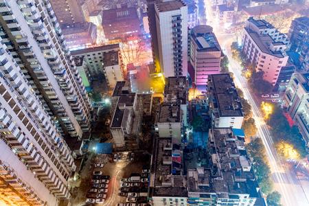 bird's eye view: Birds eye view of buildings at night in Nanjing Stock Photo