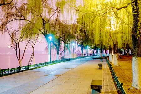path to romance: West lake Scenic area at night in Hangzhou
