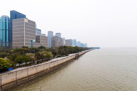 gloom: View of Hangzhou financial district in the fog Stock Photo
