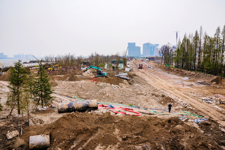 developing: Developing area under construction in Hangzhou China