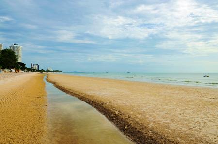 hua hin: Hua Hin beach in Thailand with overcast sky Stock Photo