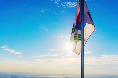 South Korean flag from mountain peak