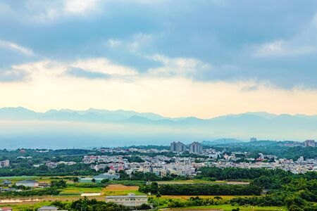 Chiayi Taiwan at dawn with mountain silhouette in the background