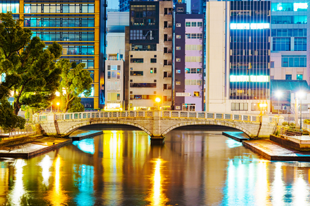 financial district: Osaka financial district with bridge at night