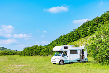Caravan in the countryside in England on a sunny day Stock Photo - 61603237