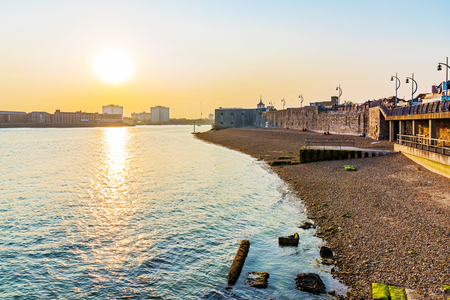 southsea: Seafront of portsmouth with sunset Editorial