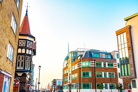 PORTSMOUTH, UNITED KINGDOM - JUNE 06: Portsmouth downtown area where there are many expensive apartments and traditional English buildings on June 06, 2016 in Portsmouth.