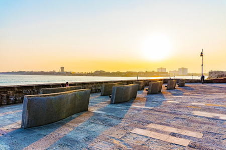southsea: viewing platform at sunset on Portsmouth seafront