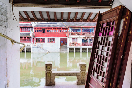 water town: Doors in an old chinese water town in Shanghai