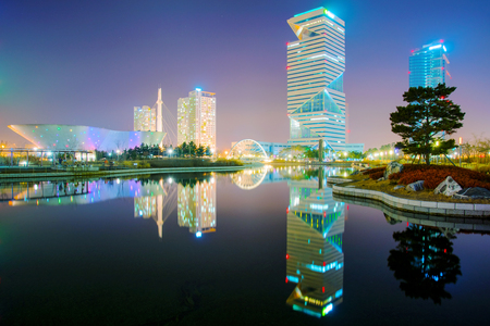 INCHEON, SOUTH KOREA - FEBURARY 10: Incheon Central Park financial district is a landmark in Incheon and a popular tourist destination with many modern buildings on Feburary 10, 2016 in Incheon.