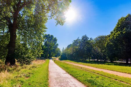 hyde: Landscape of walking path in Hyde park on a sunny day Stock Photo