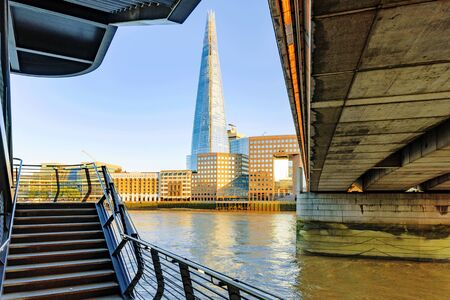 shard: LONDON - JULY 06: View of the Shard a famous building in Londons banking district with the River Thames on July 06th, 2016 in London