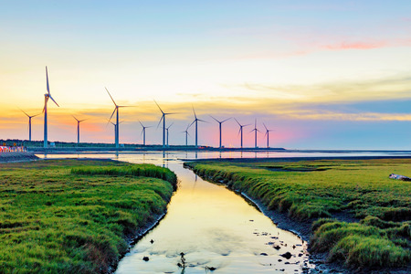 Landscape of Gaomei wetlands during sunset in Taiwan Stock Photo - 62232316