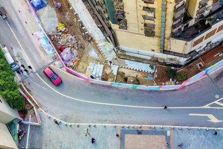 residential street: CHONGQING, CHINA - DECEMBER 29: Residential Street near Yangjiaping pedestrian street which is a popular shopping district in Chongqing municipality December 29th, 2014, in Chongqing