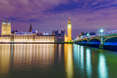 houses of parliament: Night view of the River Thames and the Houses Parliament Stock Photo