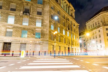 zebra crossing: Zebra crossing at night in central London Stock Photo