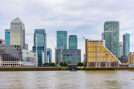 11th: LONDON - AUGUST, 2016: This is a view of Canary Wharf which is Londons main financial district and has many international banks such as HSBC and Citi bank on August 11th, 2016 in London.