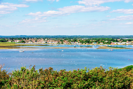 hengistbury: View of Christchurch town and sea Stock Photo