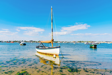 hengistbury: Boats with blue sky and clear sea in England