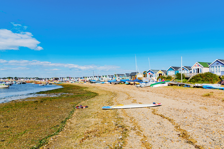 hengistbury: CHRISTCHURCH, UNITED KINGDOM - AUGUST 22: This is Hengistbury head a popular beach destination in Chrischurch where people often go for weekend breaks on August 22, 2016 in Christchurch
