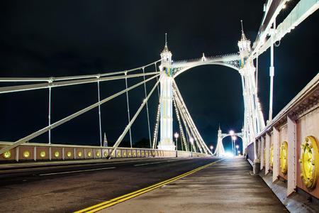 chelsea: Night view of Chelsea bridge Stock Photo