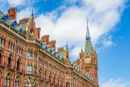 LONDON - AUGUST 22: This is the outside architecture of Kings Cross St Pancras international railway station where the main hub of the eurostar on August 22nd, 2016 in London Editorial